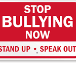 A graphic image of a red rectagle with the words Stop Bulling Now, Stand up, Speak out