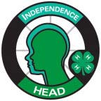 Graphics of a circle with the silhouette of a head in the middle. The word Independence is at the top of the circle and the word Head is at the bottom. This represents the Head portion of the 4-H pledge.