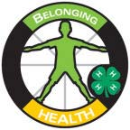 Graphics of a circle with the silhouette of a person in the middle.  The word Belonging is at the top of the circle and the word Health is at the bottom.  This represents the Health portion of the 4-H pledge.